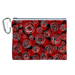 Red Abstract Decor Canvas Cosmetic Bag (l) by Valentinaart