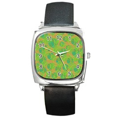 Green Decorative Art Square Metal Watch by Valentinaart
