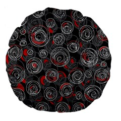 Red And Gray Abstract Art Large 18  Premium Flano Round Cushions by Valentinaart