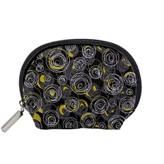 Gray And Yellow Abstract Art Accessory Pouches (small)  by Valentinaart