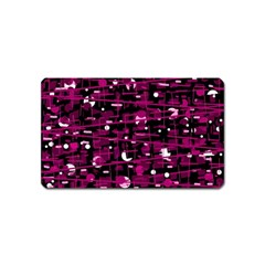 Magenta abstract art Magnet (Name Card) by Valentinaart