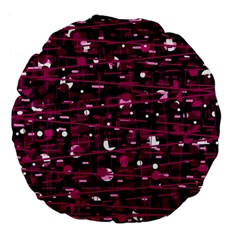 Magenta Abstract Art Large 18  Premium Flano Round Cushions by Valentinaart