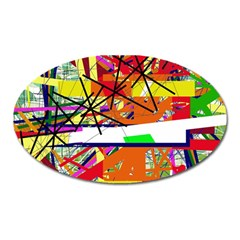 Colorful Abstraction By Moma Oval Magnet by Valentinaart