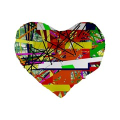 Colorful Abstraction By Moma Standard 16  Premium Flano Heart Shape Cushions by Valentinaart
