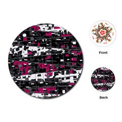 Magenta, White And Gray Decor Playing Cards (round)  by Valentinaart