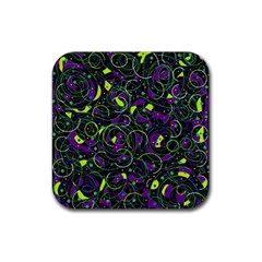 Purple And Yellow Decor Rubber Square Coaster (4 Pack)  by Valentinaart
