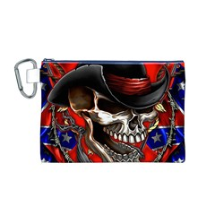 Confederate Flag Usa America United States Csa Civil War Rebel Dixie Military Poster Skull Canvas Cosmetic Bag (M) by Zeze