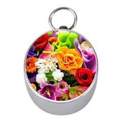 Colorful Flowers Mini Silver Compasses by Zeze