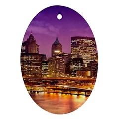 City Night Ornament (Oval)  by Zeze