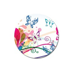 Butterfly Vector Art Magnet 3  (Round) by Zeze