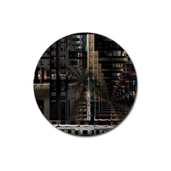 Black technology Circuit Board Electronic Computer Magnet 3  (Round) by Zeze