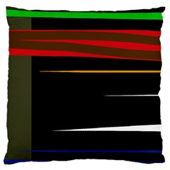 Colorful Lines  Large Cushion Case (two Sides) by Valentinaart