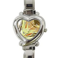 Brown Decorative Design Heart Italian Charm Watch by Valentinaart