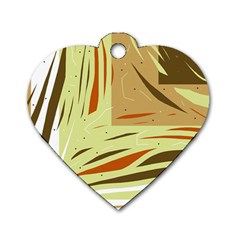 Brown Decorative Design Dog Tag Heart (one Side) by Valentinaart