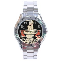 23 Sexy Conte Sketch Girl In Dark Room Naked Boobs Bathing Country Stainless Steel Analogue Watch by PeterReiss