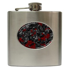 Gray And Red Decorative Art Hip Flask (6 Oz) by Valentinaart