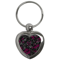 Magenta And Gray Decorative Art Key Chains (heart)  by Valentinaart