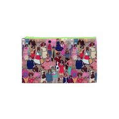 Retro Cature   Tan Cosmetic Bag (xs) by miranema