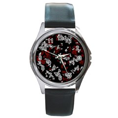 Red, White And Black Abstract Art Round Metal Watch by Valentinaart