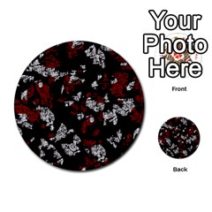 Red, White And Black Abstract Art Multi Purpose Cards (round)  by Valentinaart