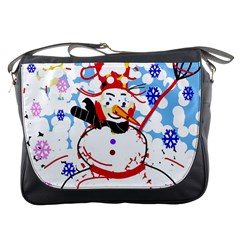 Snowman Messenger Bags by Valentinaart