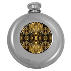 Beautiful Gold Brown Traditional Pattern Round Hip Flask (5 Oz) by Costasonlineshop
