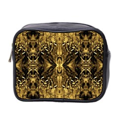 Beautiful Gold Brown Traditional Pattern Mini Toiletries Bag 2-Side by Costasonlineshop