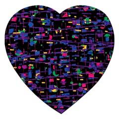 Purple Galaxy Jigsaw Puzzle (heart) by Valentinaart