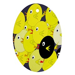 Yellow flock Oval Ornament (Two Sides)