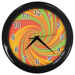 Green And Orange Twist Wall Clocks (black) by Valentinaart