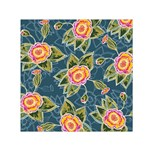 Floral Fantsy Pattern Small Satin Scarf (Square)