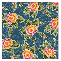 Floral Fantsy Pattern Large Satin Scarf (square) by DanaeStudio