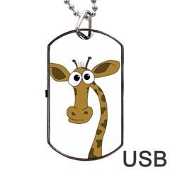 Giraffe  Dog Tag USB Flash (One Side) by Valentinaart