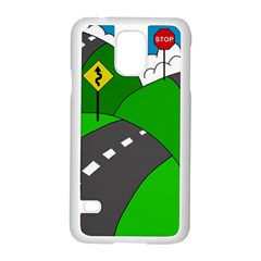 Hit The Road Samsung Galaxy S5 Case (white) by Valentinaart