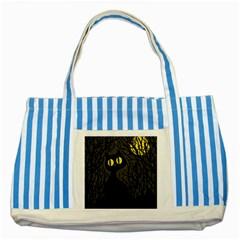 Black cat - Halloween Striped Blue Tote Bag