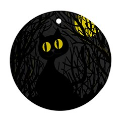 Black Cat   Halloween Round Ornament (two Sides)  by Valentinaart
