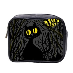 Black Cat   Halloween Mini Toiletries Bag 2 Side by Valentinaart