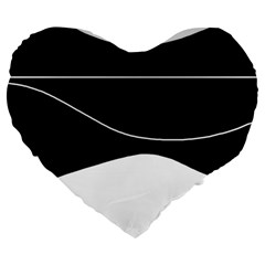 Black And White Large 19  Premium Heart Shape Cushions by Valentinaart