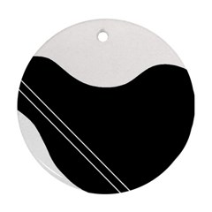 White And Black Abstraction Ornament (round)  by Valentinaart