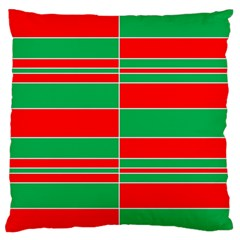 Christmas Colors Red Green White Large Flano Cushion Case (Two Sides) by Zeze