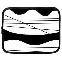 White And Black Waves Netbook Case (xl)  by Valentinaart