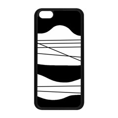 White And Black Waves Apple Iphone 5c Seamless Case (black) by Valentinaart