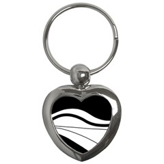 White And Black Harmony Key Chains (heart)  by Valentinaart
