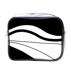 White And Black Harmony Mini Toiletries Bags by Valentinaart