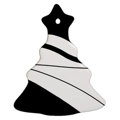 White And Black Harmony Christmas Tree Ornament (2 Sides) by Valentinaart