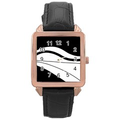 White And Black Harmony Rose Gold Leather Watch  by Valentinaart