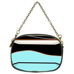 Cyan, Black And White Waves Chain Purses (two Sides)  by Valentinaart