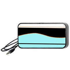 Cyan, Black And White Waves Portable Speaker (black)  by Valentinaart