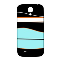 Cyan, Black And White Waves Samsung Galaxy S4 I9500/i9505  Hardshell Back Case by Valentinaart