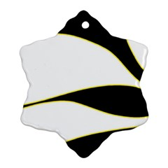 Yellow, black and white Snowflake Ornament (2-Side) by Valentinaart